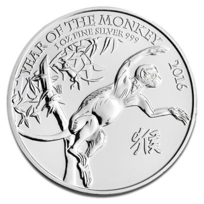 Srebrna moneta  2 Funty Rok Małpy / Year of the Monkey  1 oz   2016 r (Wielka Brytania)