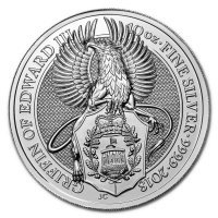 Srebrna moneta Gryf  / Queen's Beasts Griffin of Edward III  , 10   oz , 2018